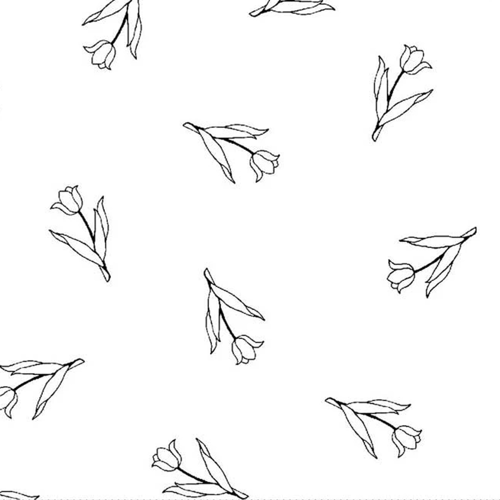 A black and white image showing the tossed rose designs | Shabby Fabrics