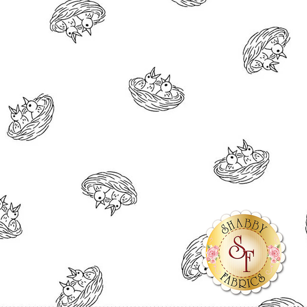 A black and white image showing the design of the baby birds in their nests | Shabby Fabrics