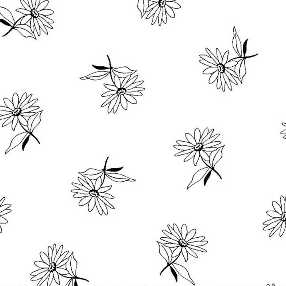 A black and white image showing the design of the tossed flowers | Shabby Fabrics