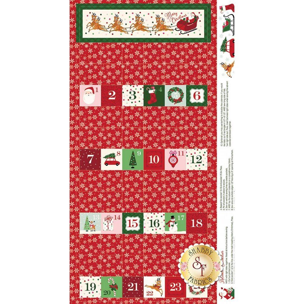 Red Christmas advent calendar panel   Shabby Fabrics