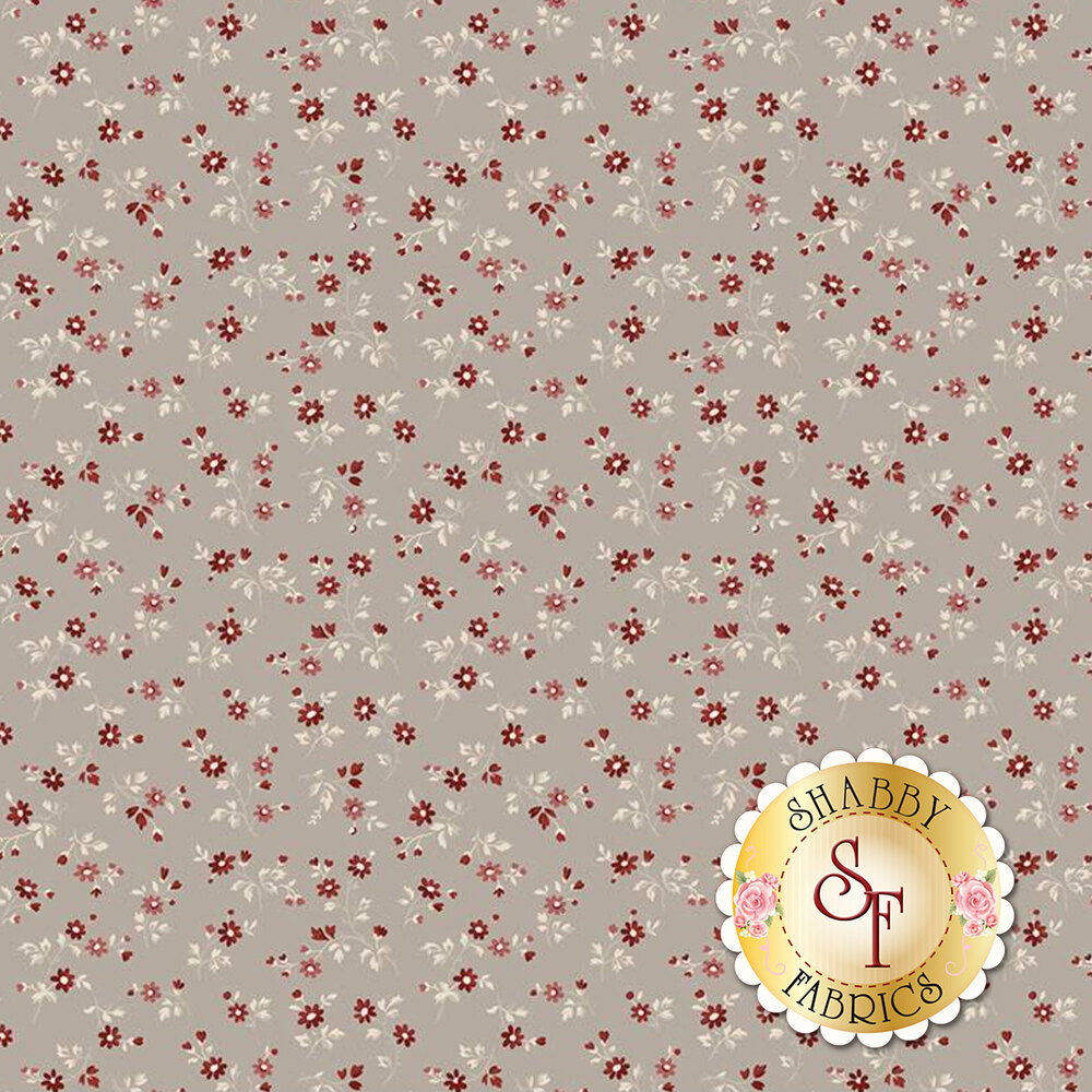 Fabric with flower bunches on a taupe background | Shabby Fabrics