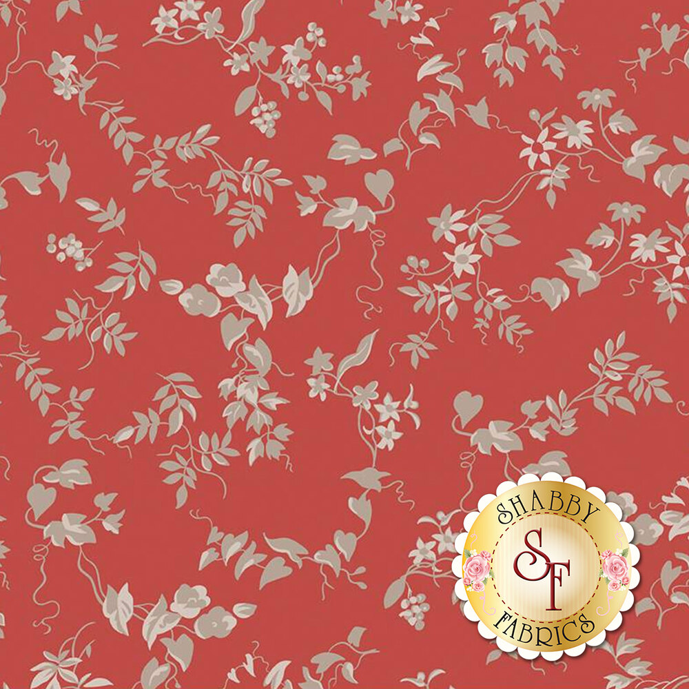 Vines and leaves on a red background | Shabby Fabrics
