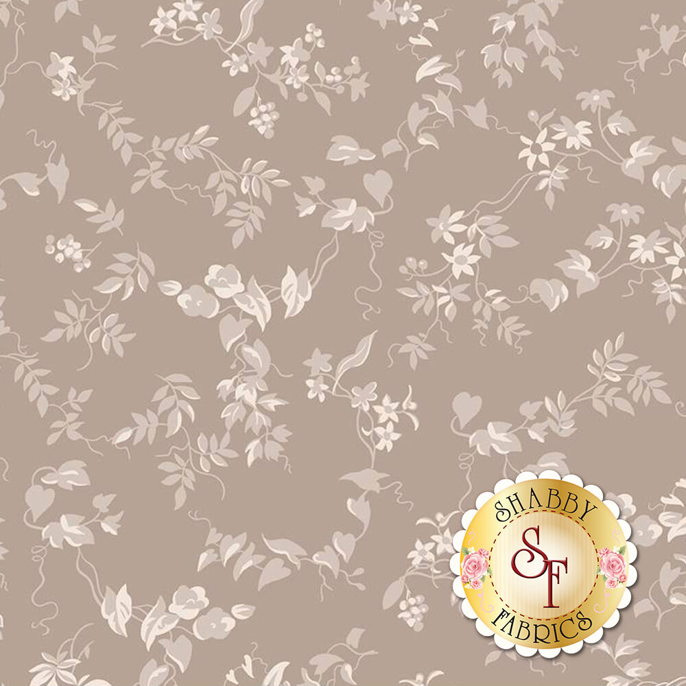 Tonal vines and leaves on a taupe background   Shabby Fabrics
