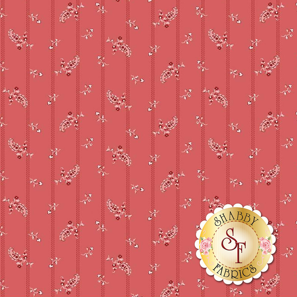 Tonal stripes with hanging flowers on a red background   Shabby Fabrics