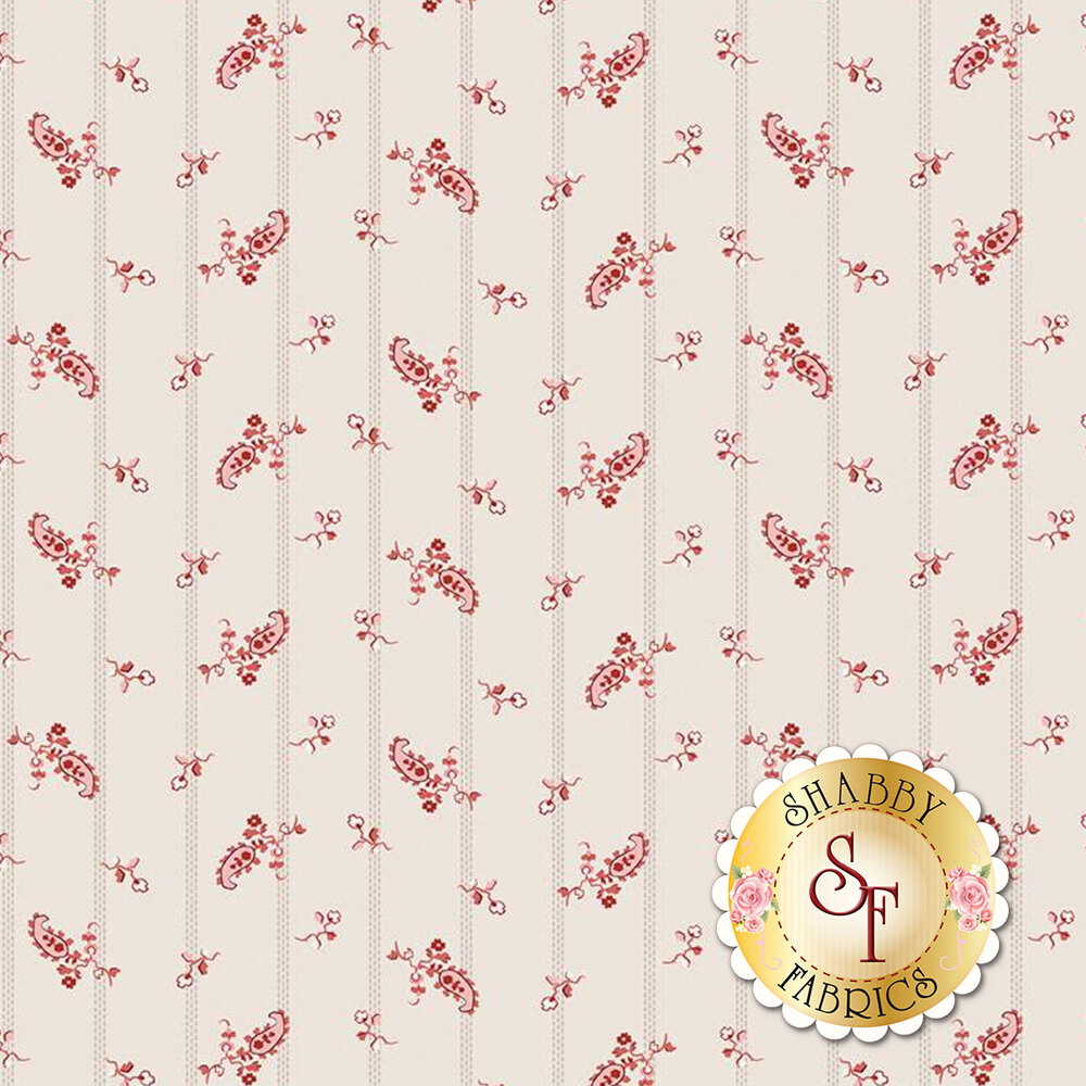 A beautiful striped print with red flowers on a cream background | Shabby Fabrics