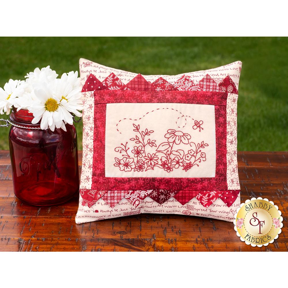 Redwork Garden Accent Pillow Kit | Shabby Fabrics