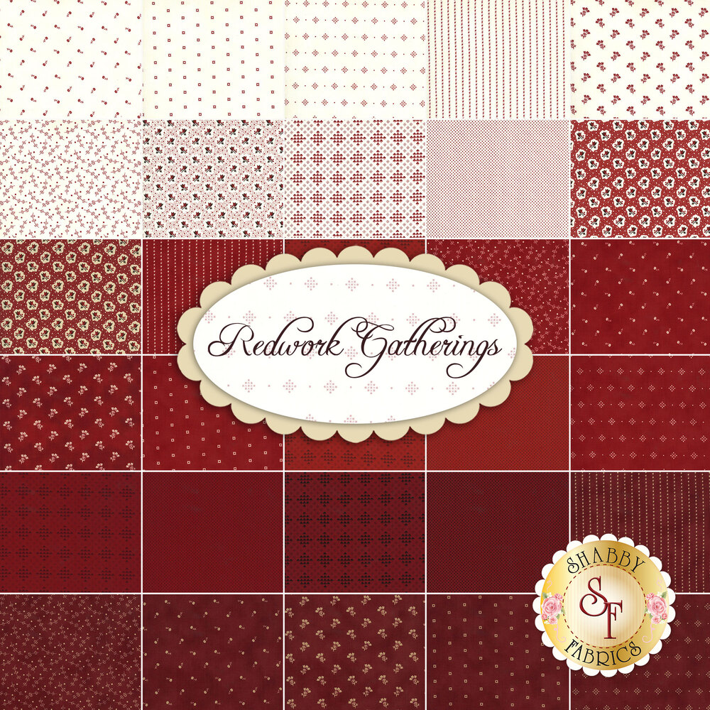 Collage of fabrics included in the Redwork Gatherings charm pack | Shabby Fabrics