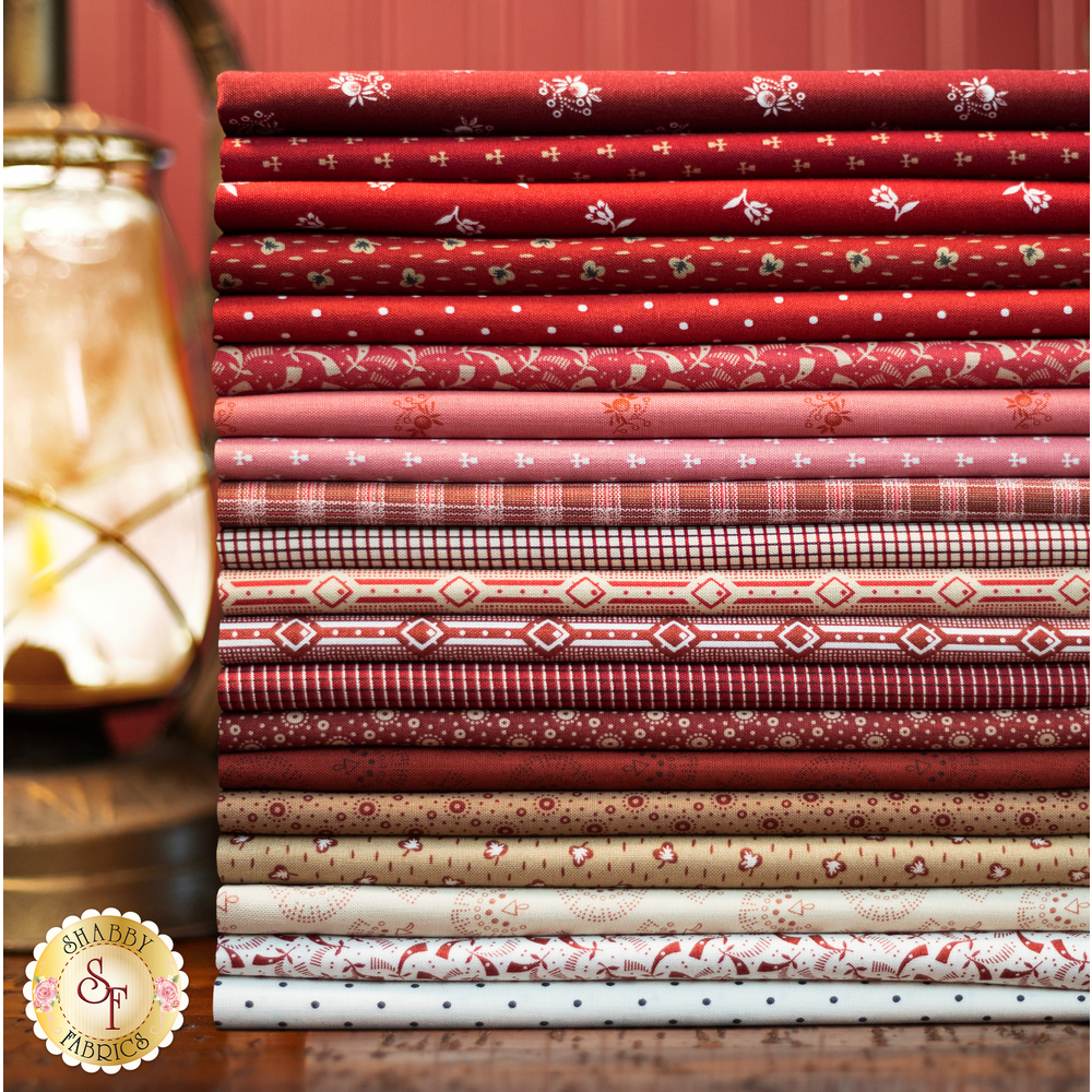 A collage of fabric from the Repro Reds collection