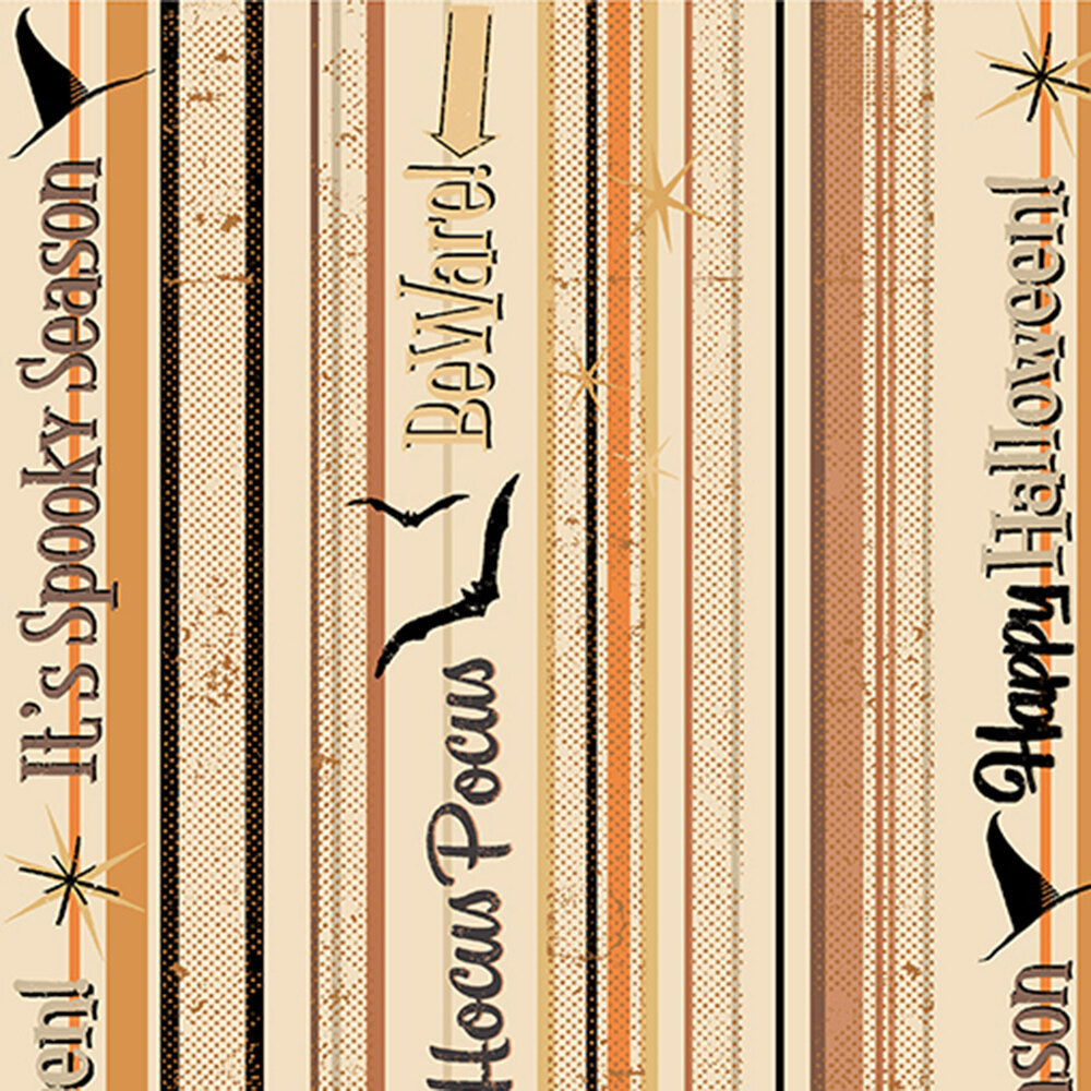Black or orange stripe with bats and words all over cream | Shabby Fabrics