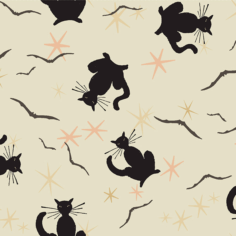 Tossed black cats, bats, and stars all over cream | Shabby Fabrics