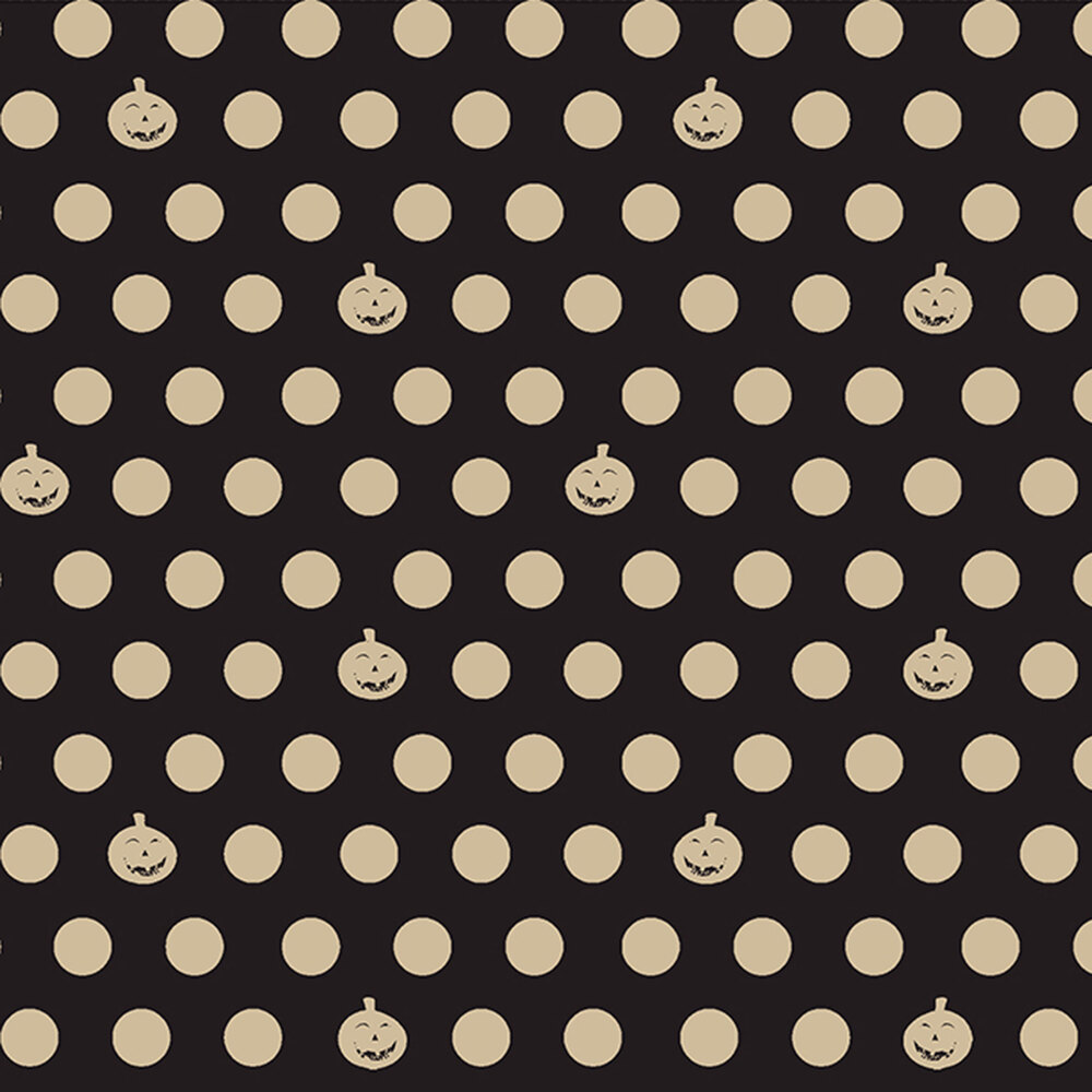 Cream polka dots and pumpkins all over black | Shabby Fabrics