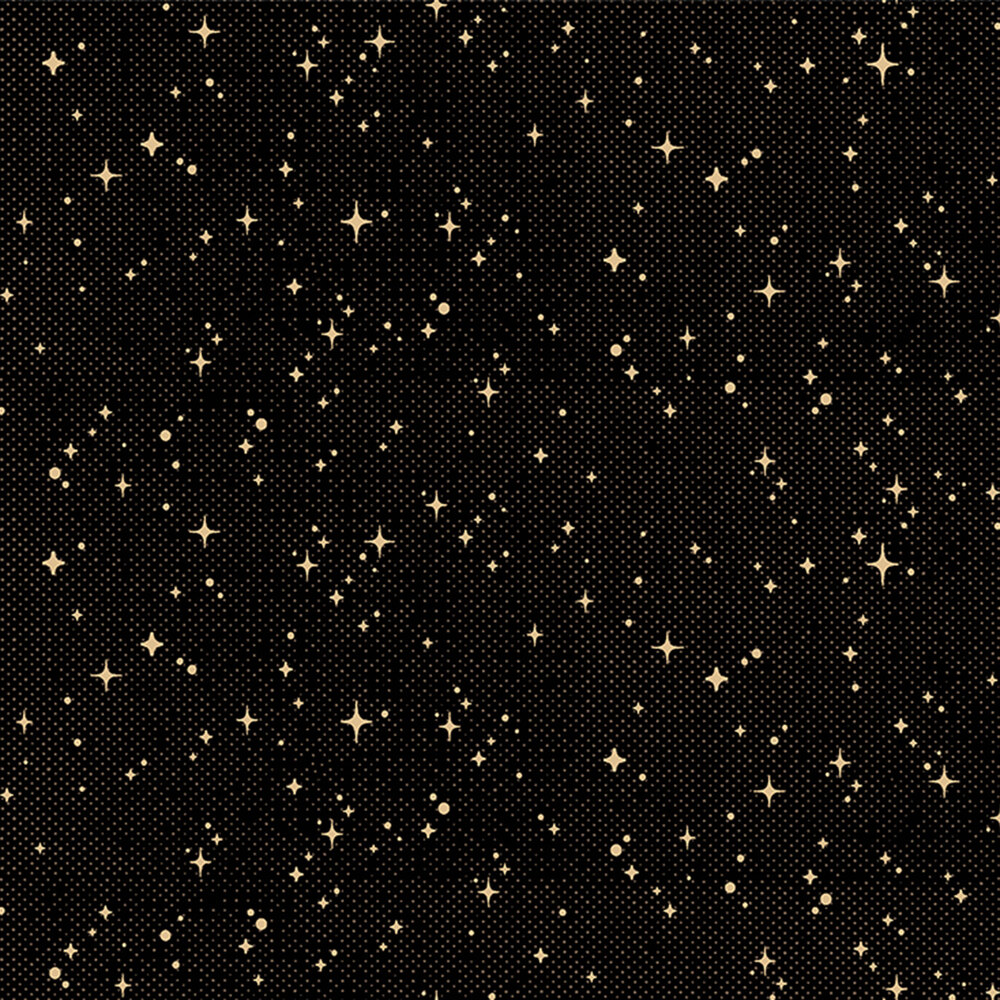 Cream stars all over black | Shabby Fabrics
