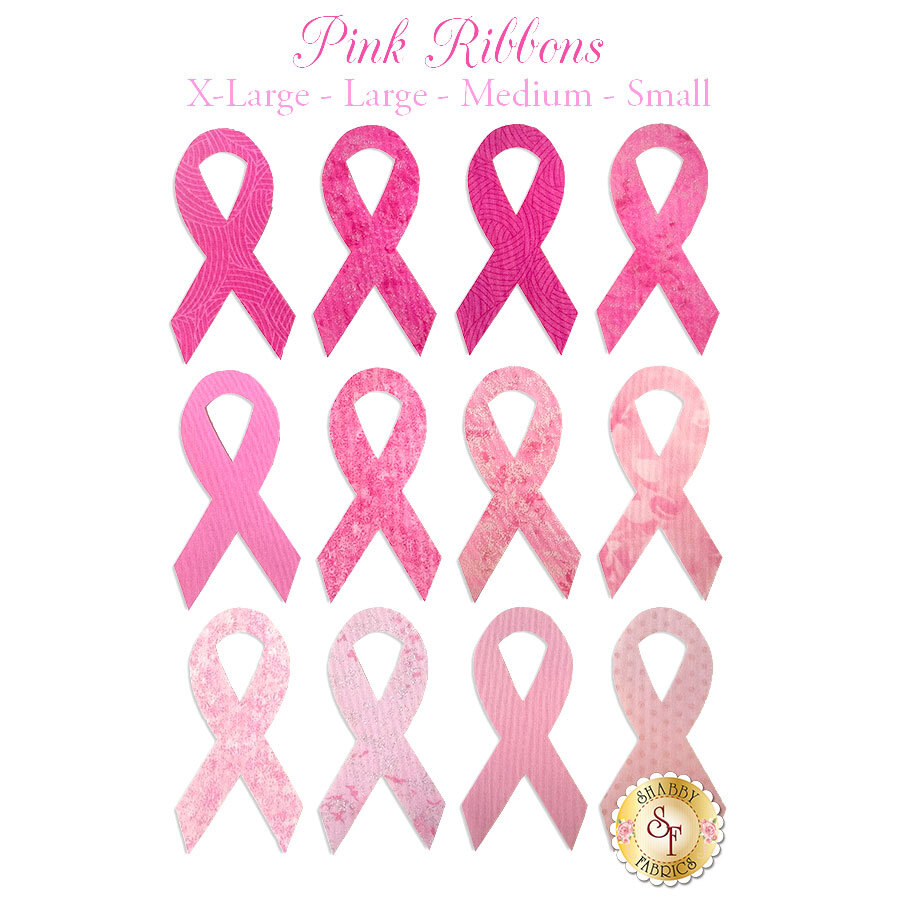 12 awareness ribbon applique shapes in multiple fabric prints and shades of pink.