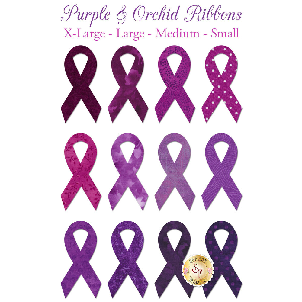 12 awareness ribbon applique shapes in multiple fabric prints and shades of purple and violet.