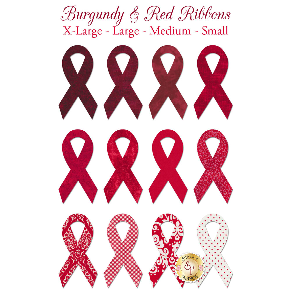 Burgundy and red awareness ribbon applique shapes ranging from deep red to white with red polka dots
