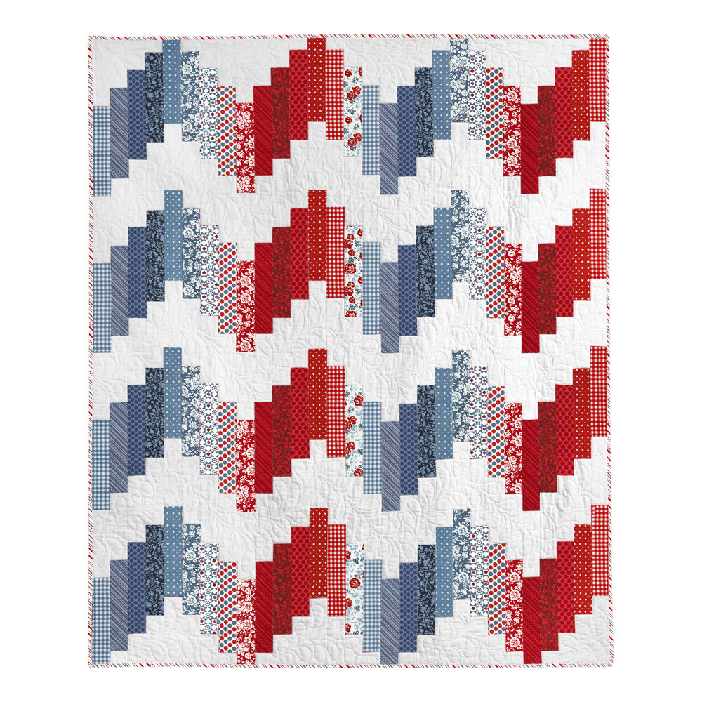 Red, white, and blue Ridiculously Easy Quilt laid flat on a white background