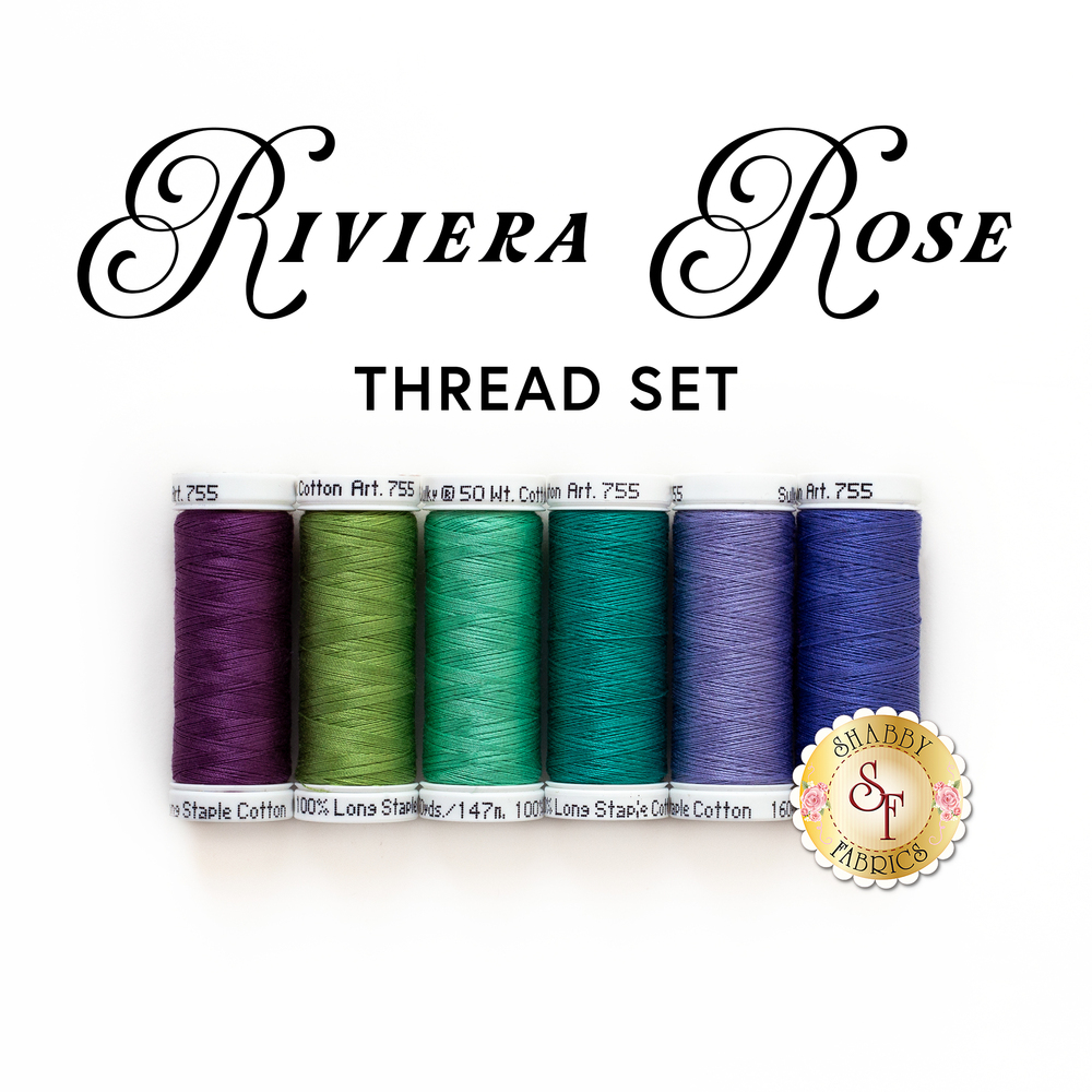 The coordinating 6pc thread set for the Riviera Rose Quilt Kit