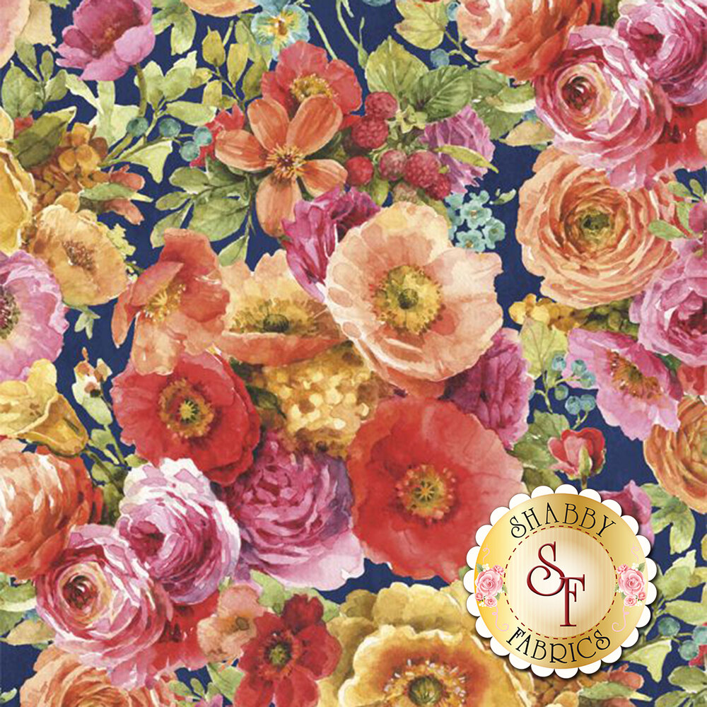 Cluster of flowers in pink, orange and yellow on navy | Shabby Fabrics