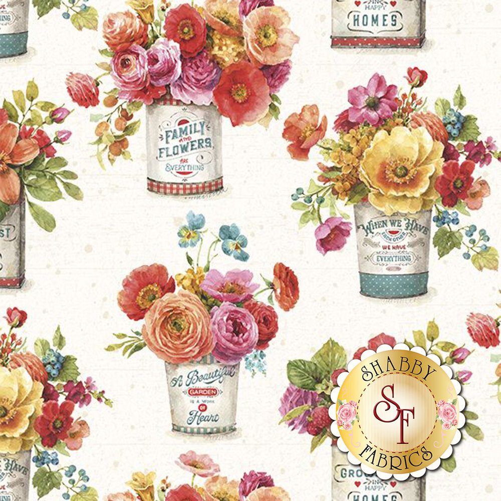 Bouquet of flowers in tins on cream | Shabby Fabrics