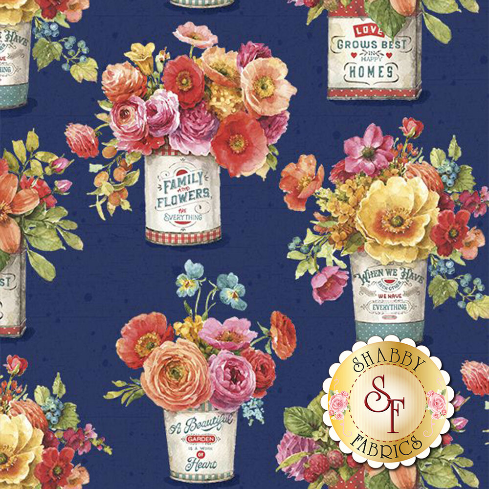 Bouquet of flowers in tins on navy | Shabby Fabrics