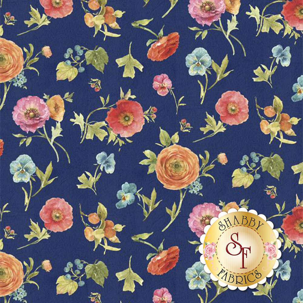 Tossed flowers on a navy background | Shabby Fabrics