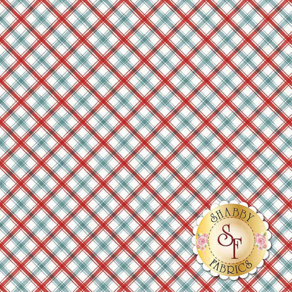 Red and blue plaid on white | Shabby Fabrics