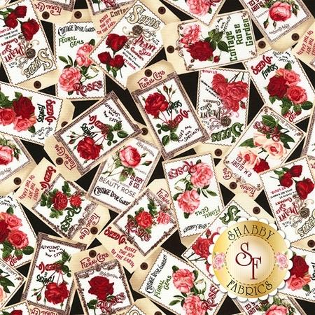 Rose Garden C5816-Black by Timeless Treasures Fabrics