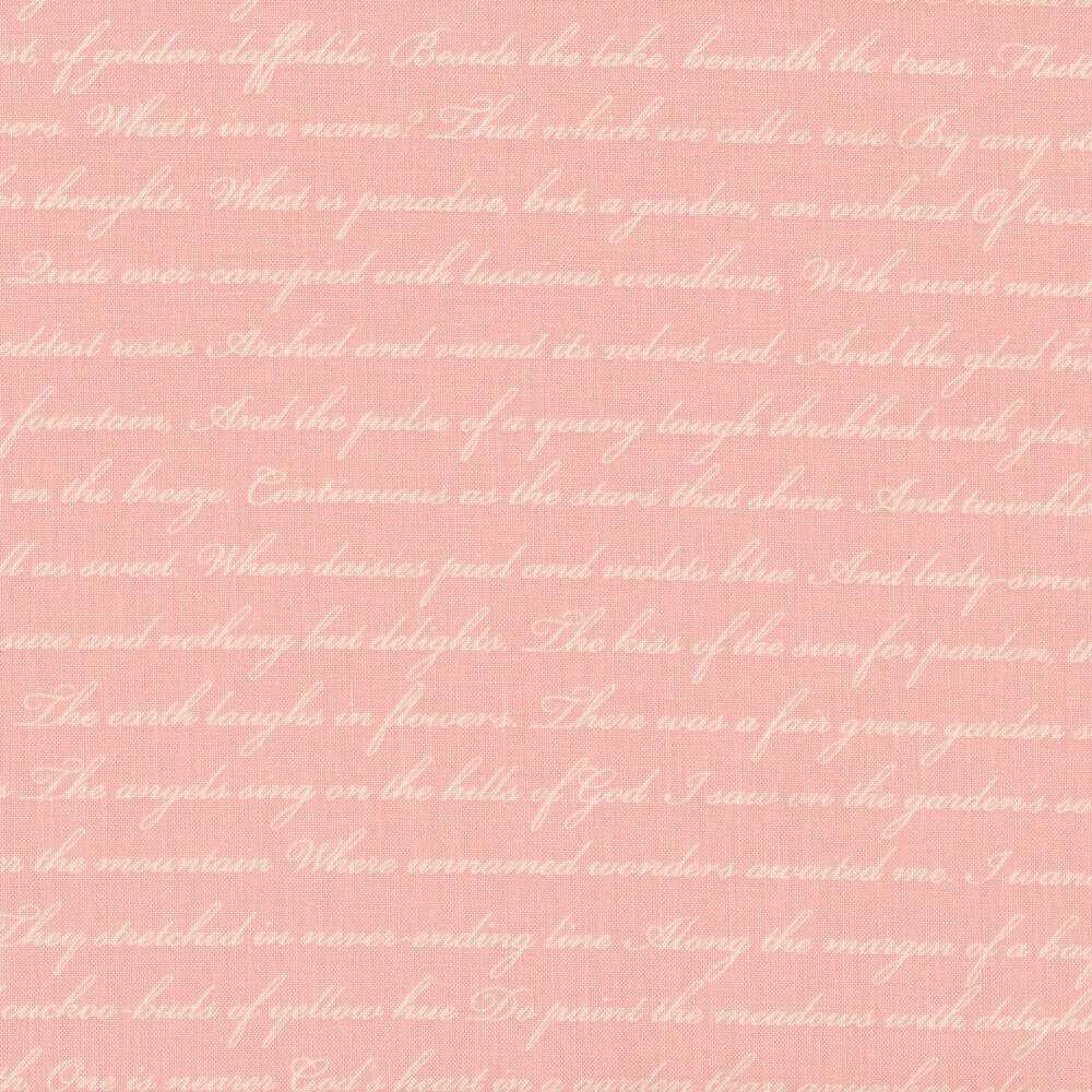 Tonal pink word print   Shabby Fabrics