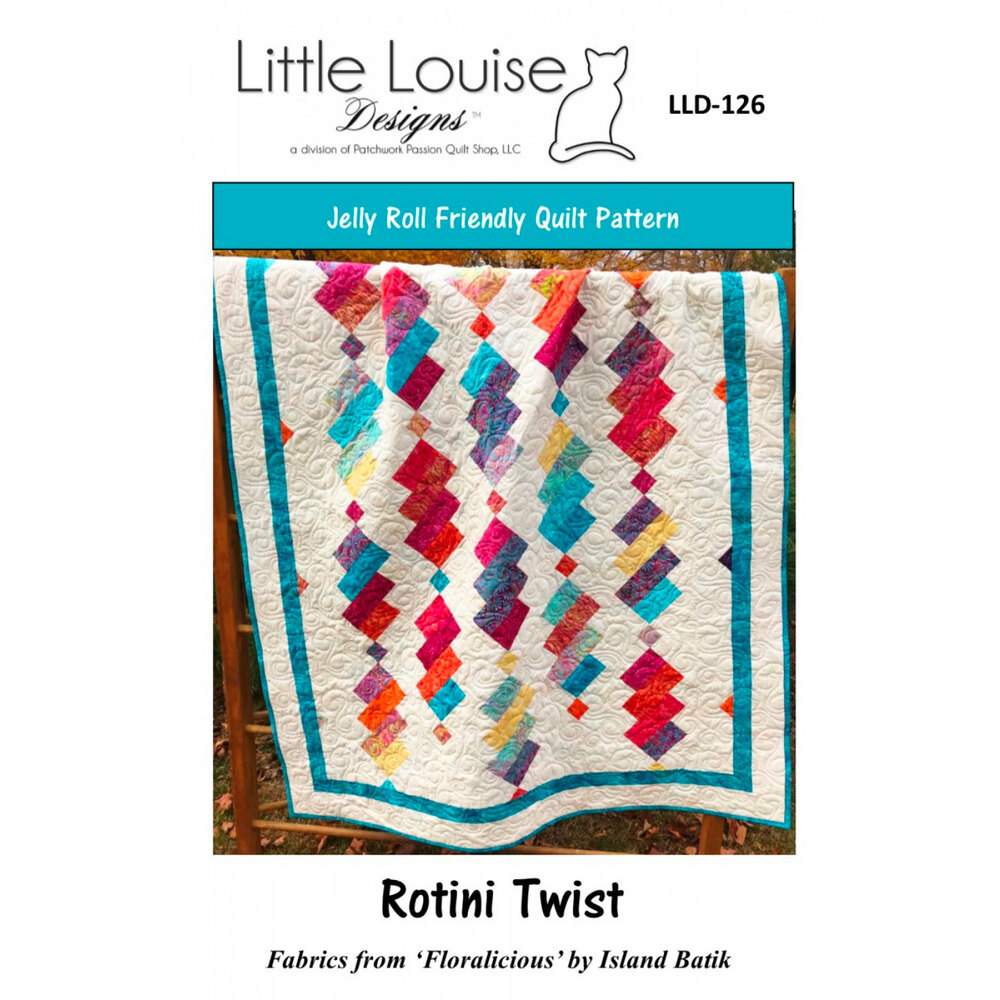 The front of the Rotini Twist pattern showing the finished quilt
