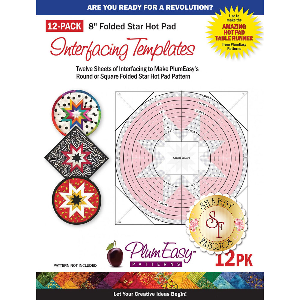 "The front of the 8"" Folded Star Hot Pad Interfacing Templates package 