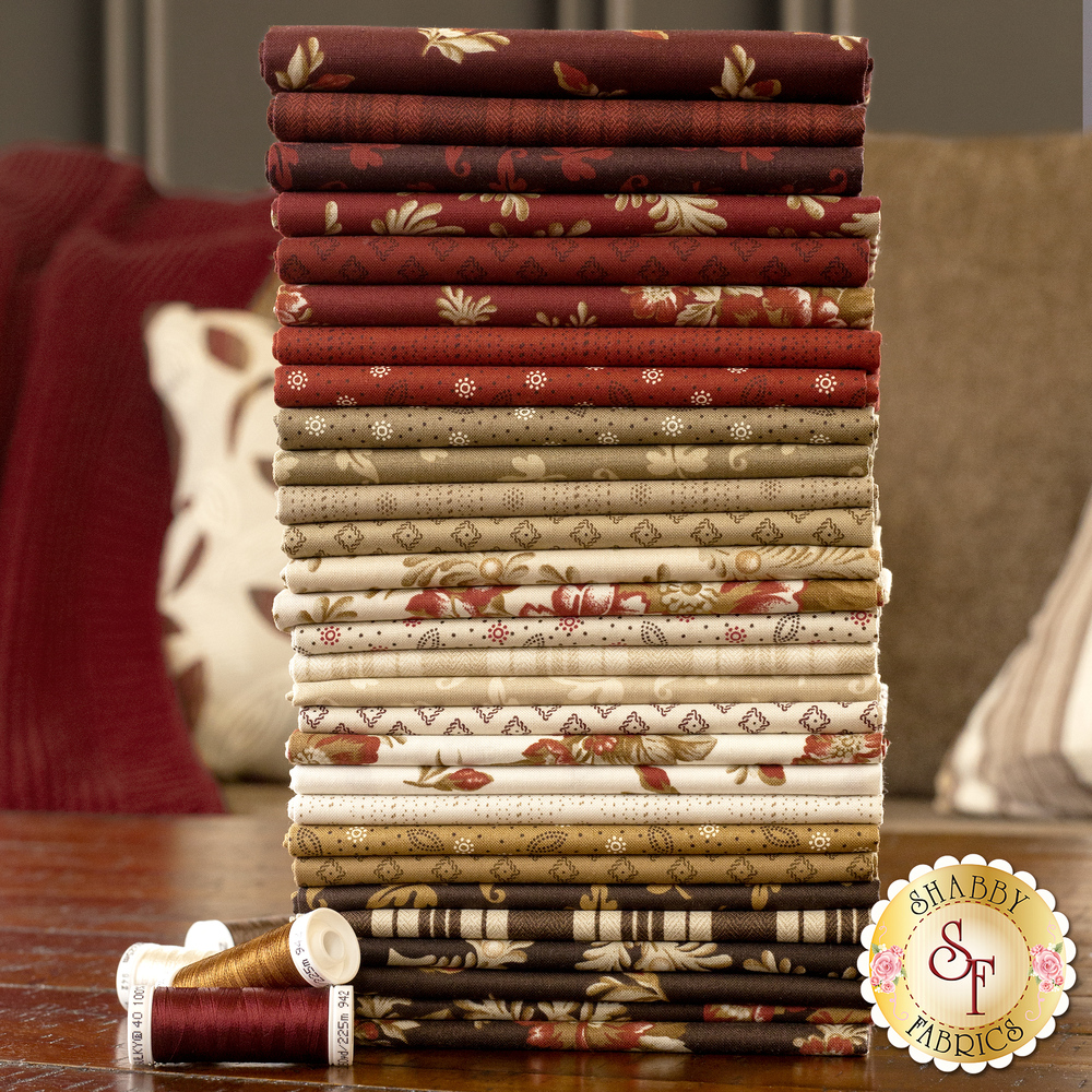 An image of the fabrics included in the Ruby FQ Set | Shabby Fabrics