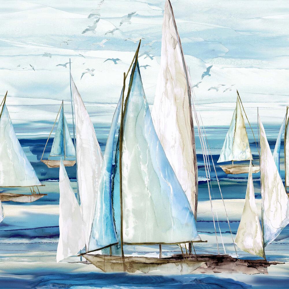 Watercolor sailboats on an ocean with seagulls | Shabby Fabrics