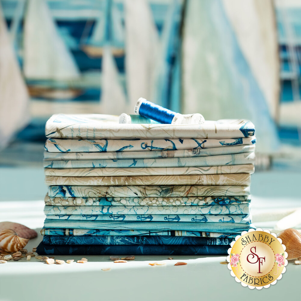 A collage of fabrics included in the Sail Away collection   Shabby Fabrics
