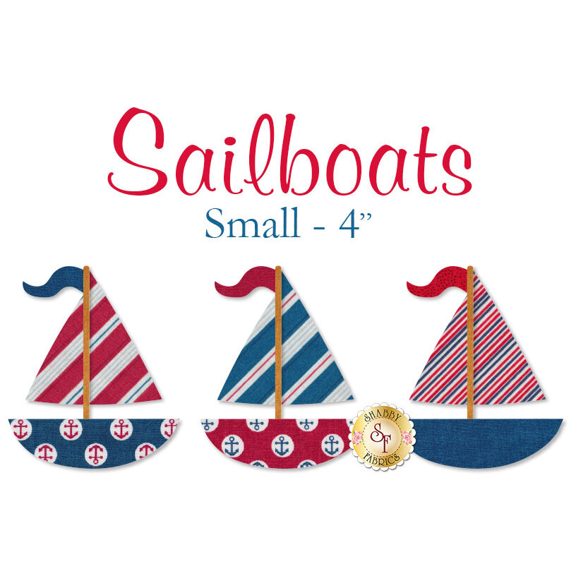 Small sailboat applique shapes measure 4 inches from top to bottom | Shabby Shapes
