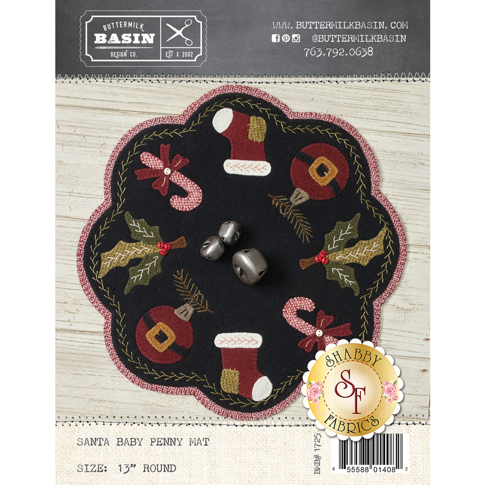 The front of the Santa Baby Penny Mat Pattern showing the finished mat | Shabby Fabrics