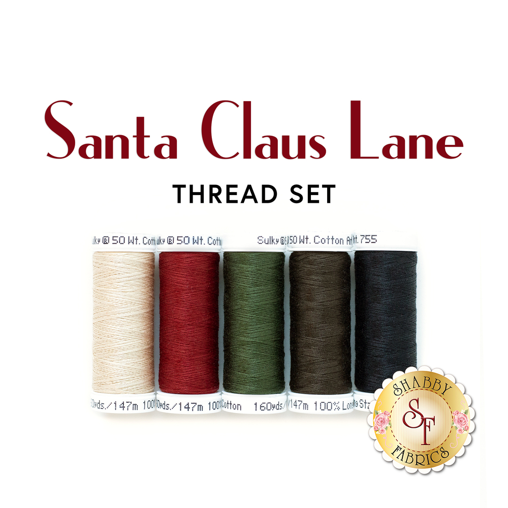 The 5 pc thread set for the Santa Claus Lane Wall Hanging | Shabby Fabrics