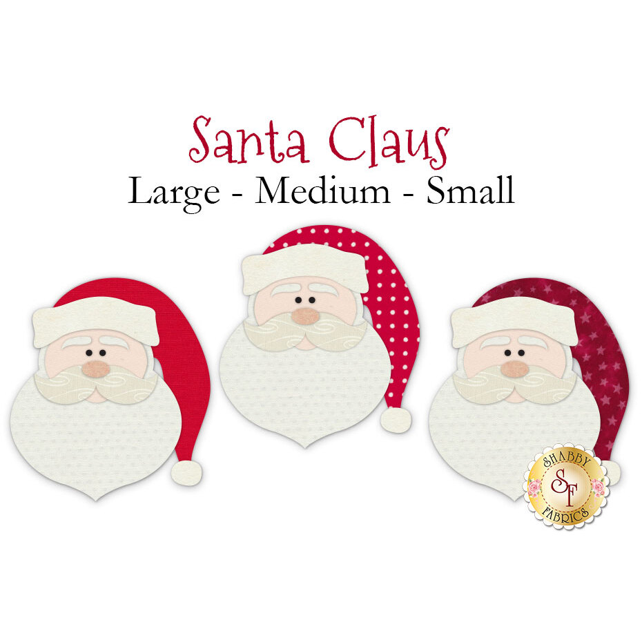 3 Santa Claus face applique shapes with different patterned red hats.