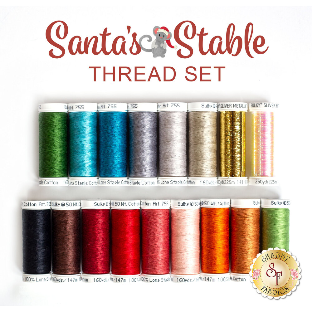 Santa's Stable BOM - 17 pc Sulky Cotton Thread Set
