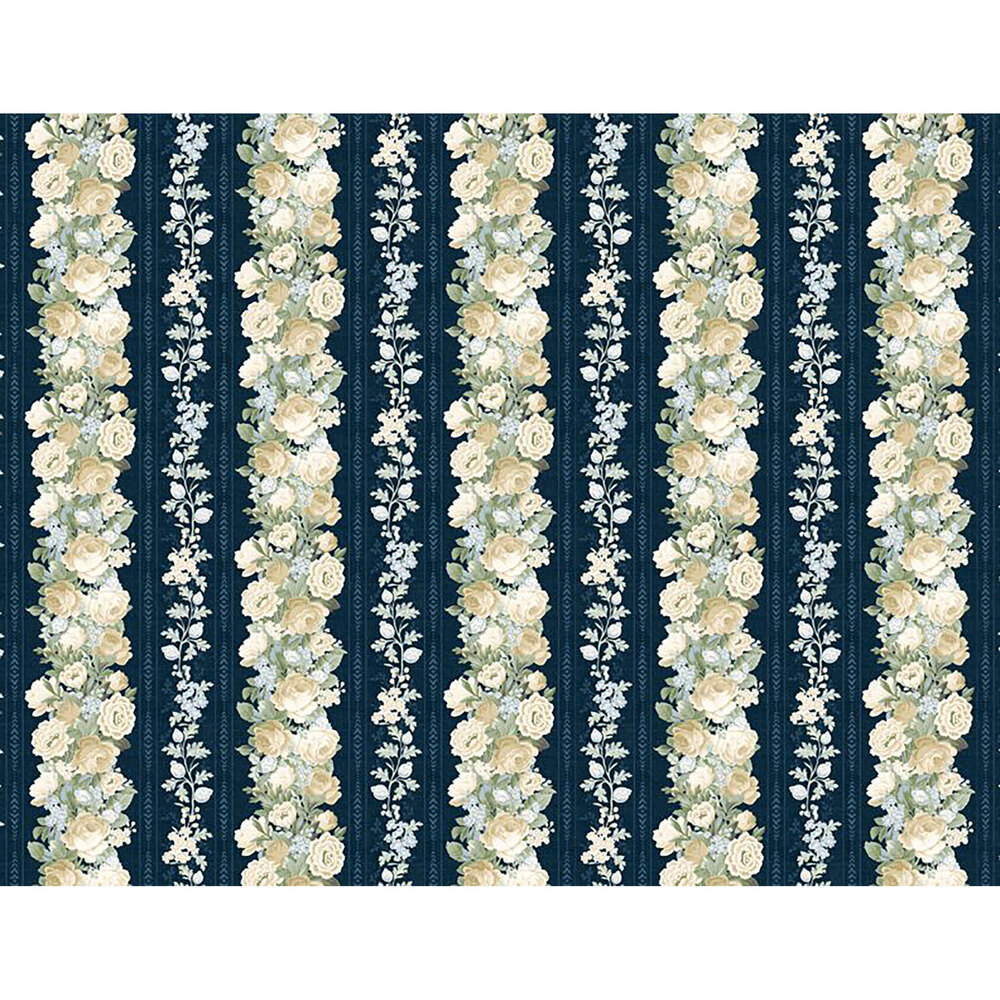 Repeating stripe in the Sapphire Blossoms collection | Shabby Fabrics