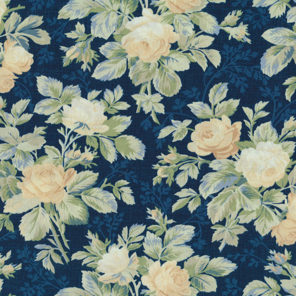 Cream Roses with leaves on a Navy background | Shabby Fabrics