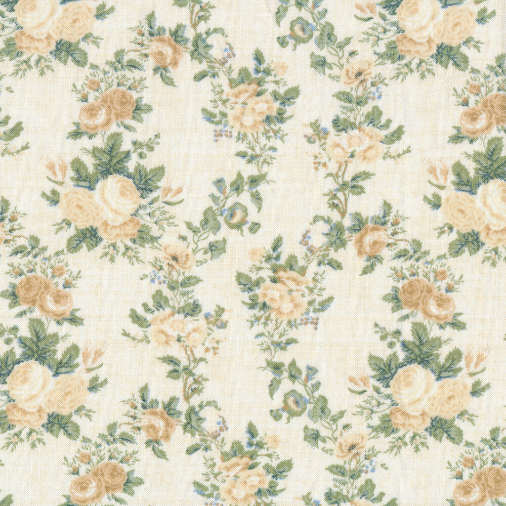 Cream Roses with vines and leaves on a cream background | Shabby Fabrics