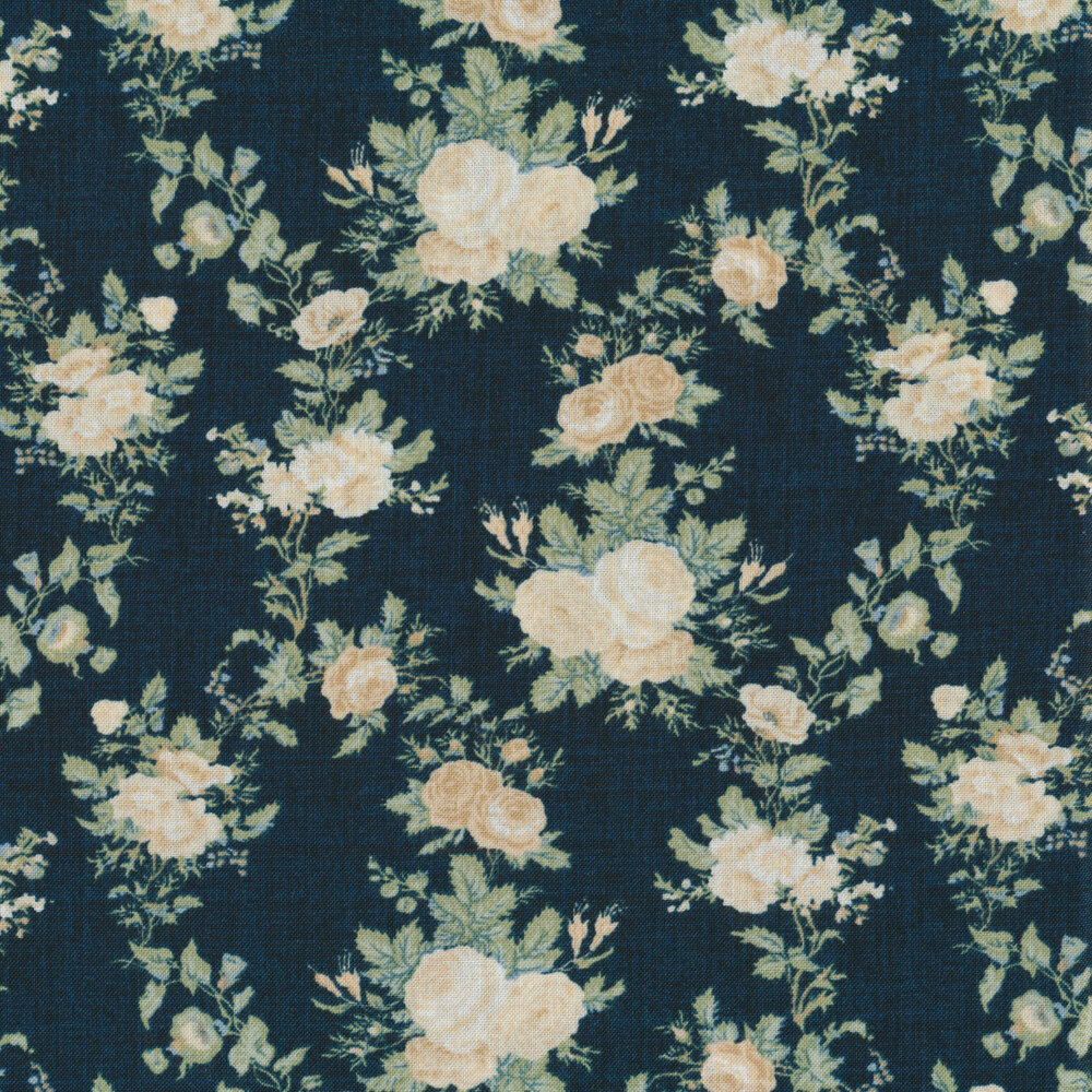 Cream Roses with vines and leaves on a navy background | Shabby Fabrics