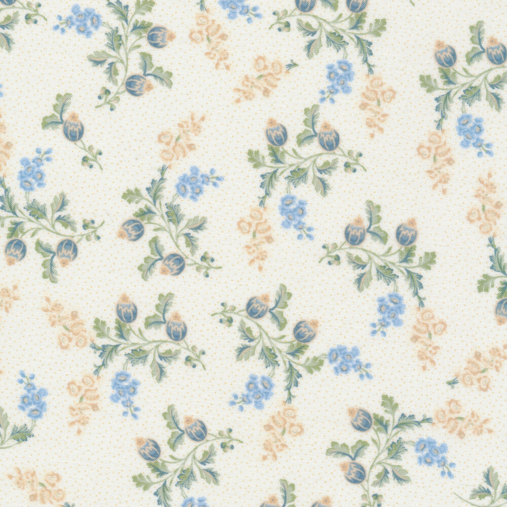 Blue and cream flowers with vines and leaves on a cream background | Shabby Fabrics