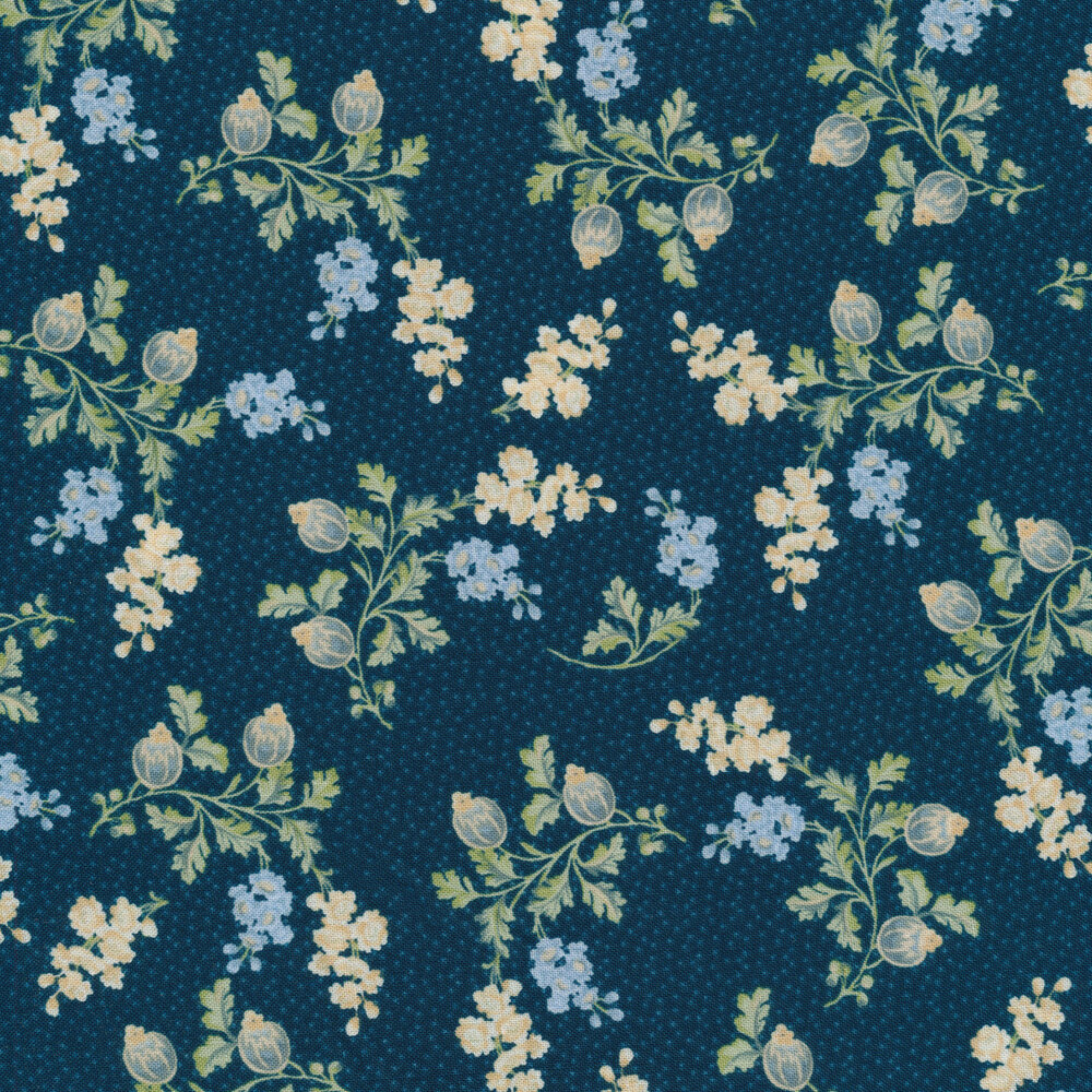 Blue and cream flowers with vines and leaves on a navy background | Shabby Fabrics