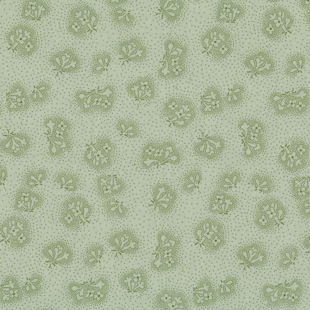 Tonal flowers on Green | Shabby Fabrics