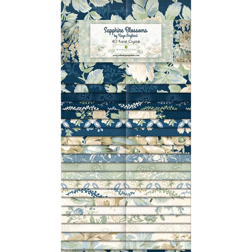 """Collage of fabrics featured in the Sapphire Blossoms 2 1/2"""" Strips 