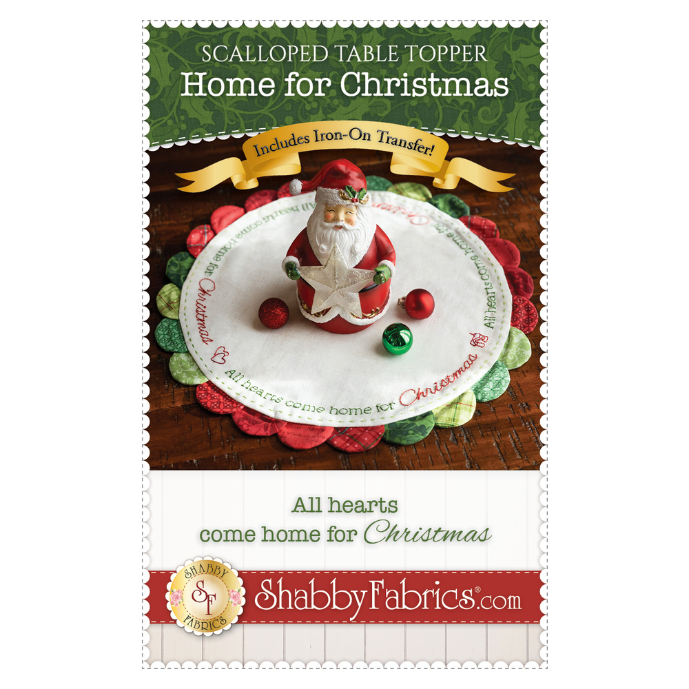 The front of the Scalloped Table Topper - Home for Christmas - Pattern