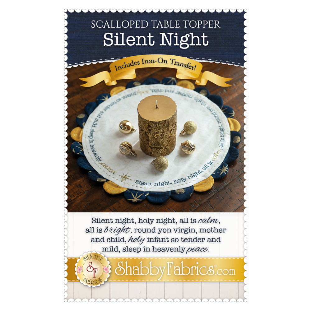 The front of the Scalloped Table Topper - Silent Night - Pattern showing the finished table topper