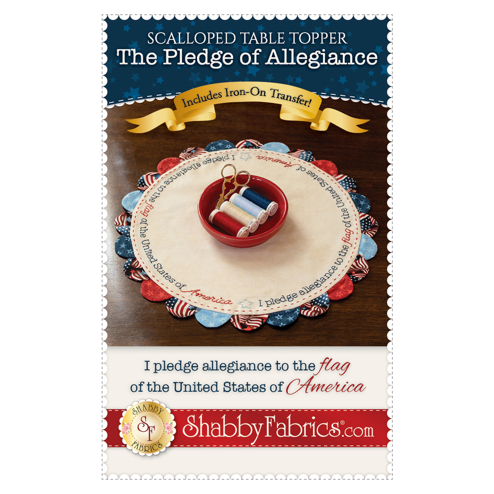 The front of the Scalloped Table Topper - Pledge of Allegiance - Pattern