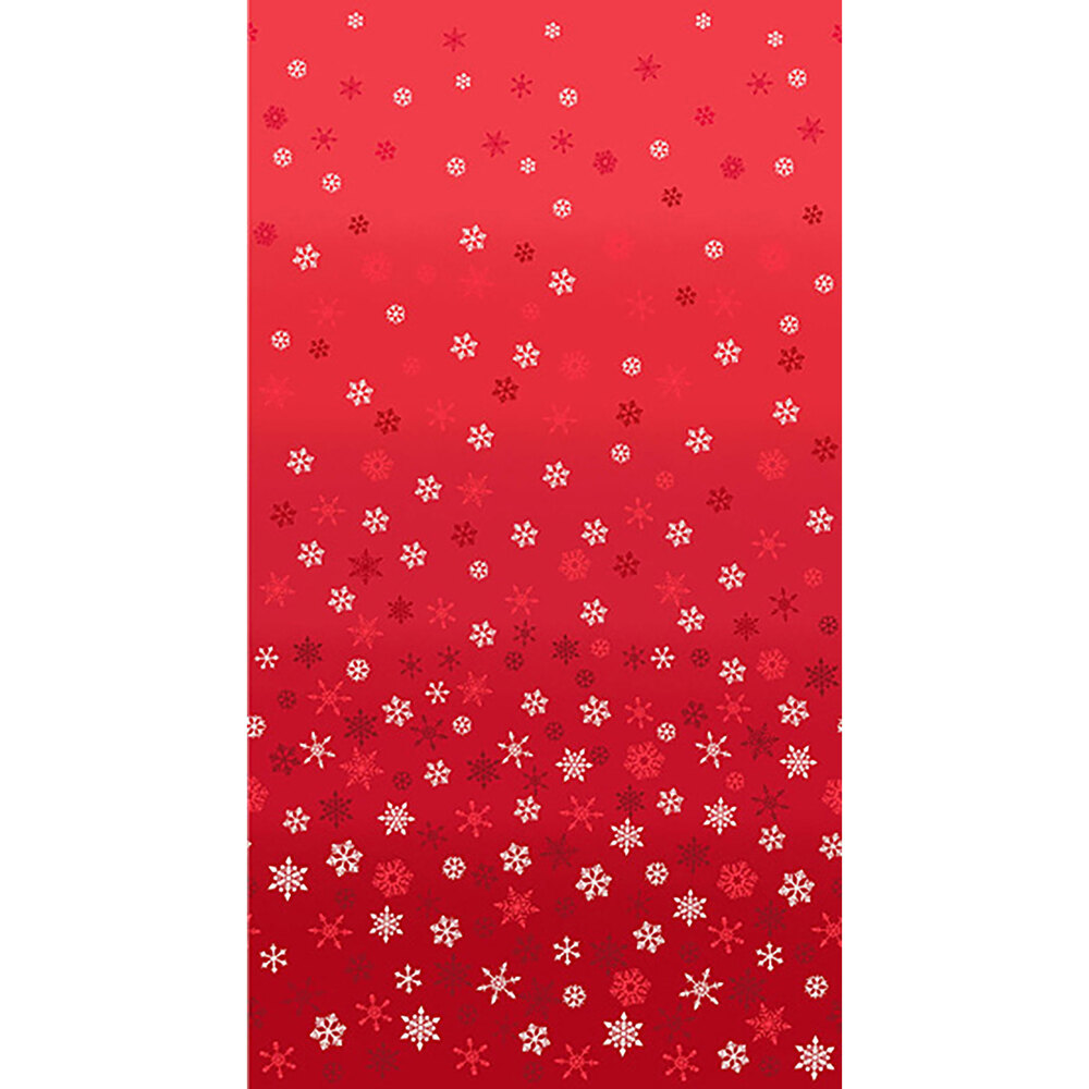 Red ombre fabric with white snowflakes all over